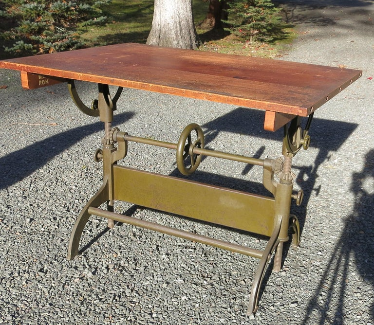 Antique Hamilton Drafting Table Industrial Table For Sale 6