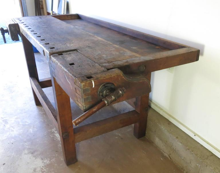 Antique Carpenters Workbench Circa 1900 Ohio Tool Company