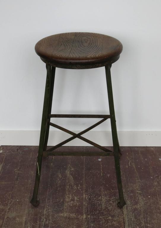 Vintage Industrial Stool Angle Steel Co., 1940s In Good Condition For Sale In Newtown, CT