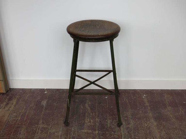 Mid-20th Century Vintage Industrial Stool Angle Steel Co., 1940s For Sale