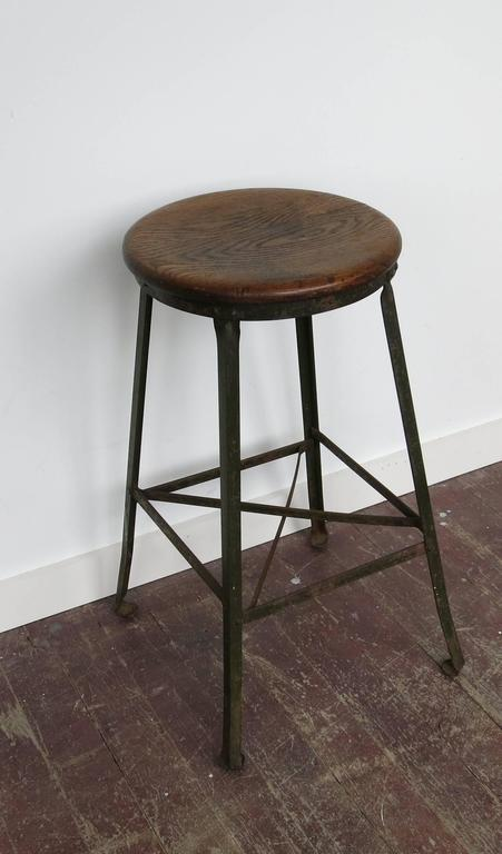 Iron Vintage Industrial Stool Angle Steel Co., 1940s For Sale