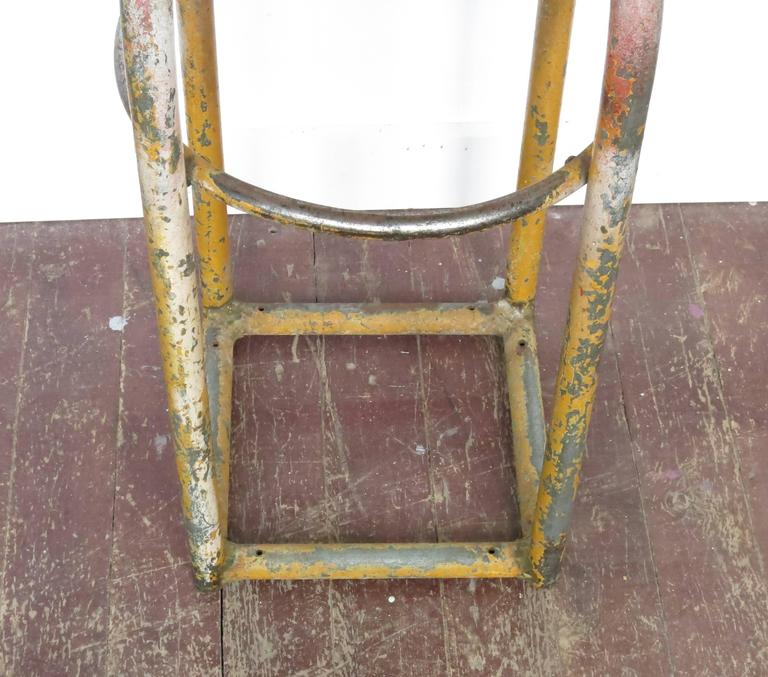 Cosco Chippy Red Metal Kitchen Cart Movable Painted Vintage: Vintage Metal Industrial Shop Stool, 1960s At 1stdibs