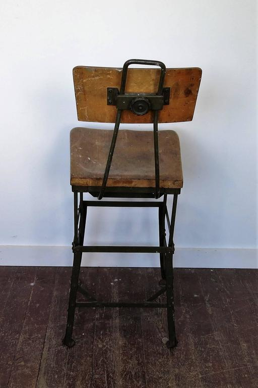 Vintage Industrial Factory Stool In Distressed Condition For Sale In Newtown, CT