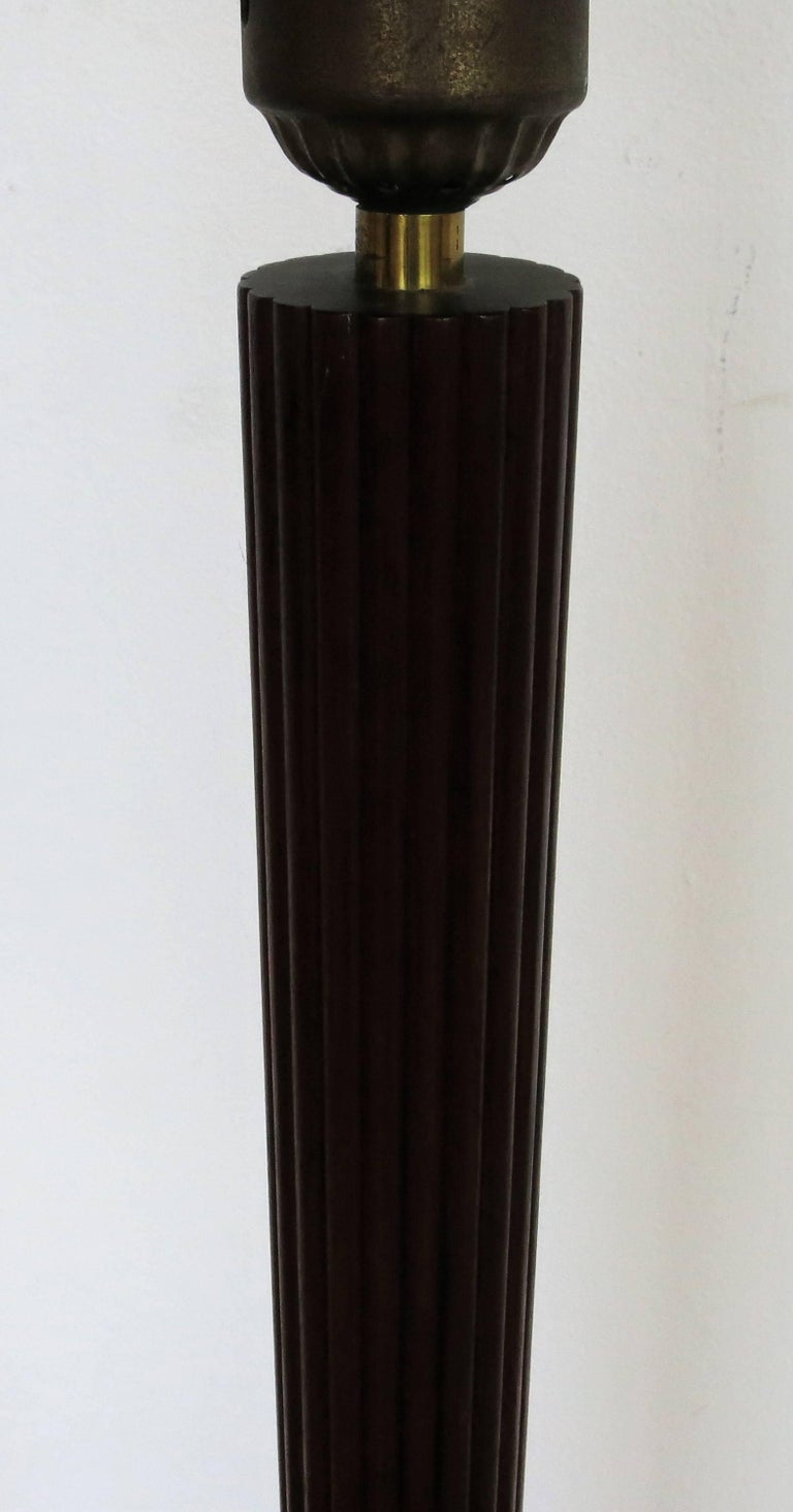 Lightolier reeded and tapered teak floor lamp for sale at for Reeded brass floor lamp