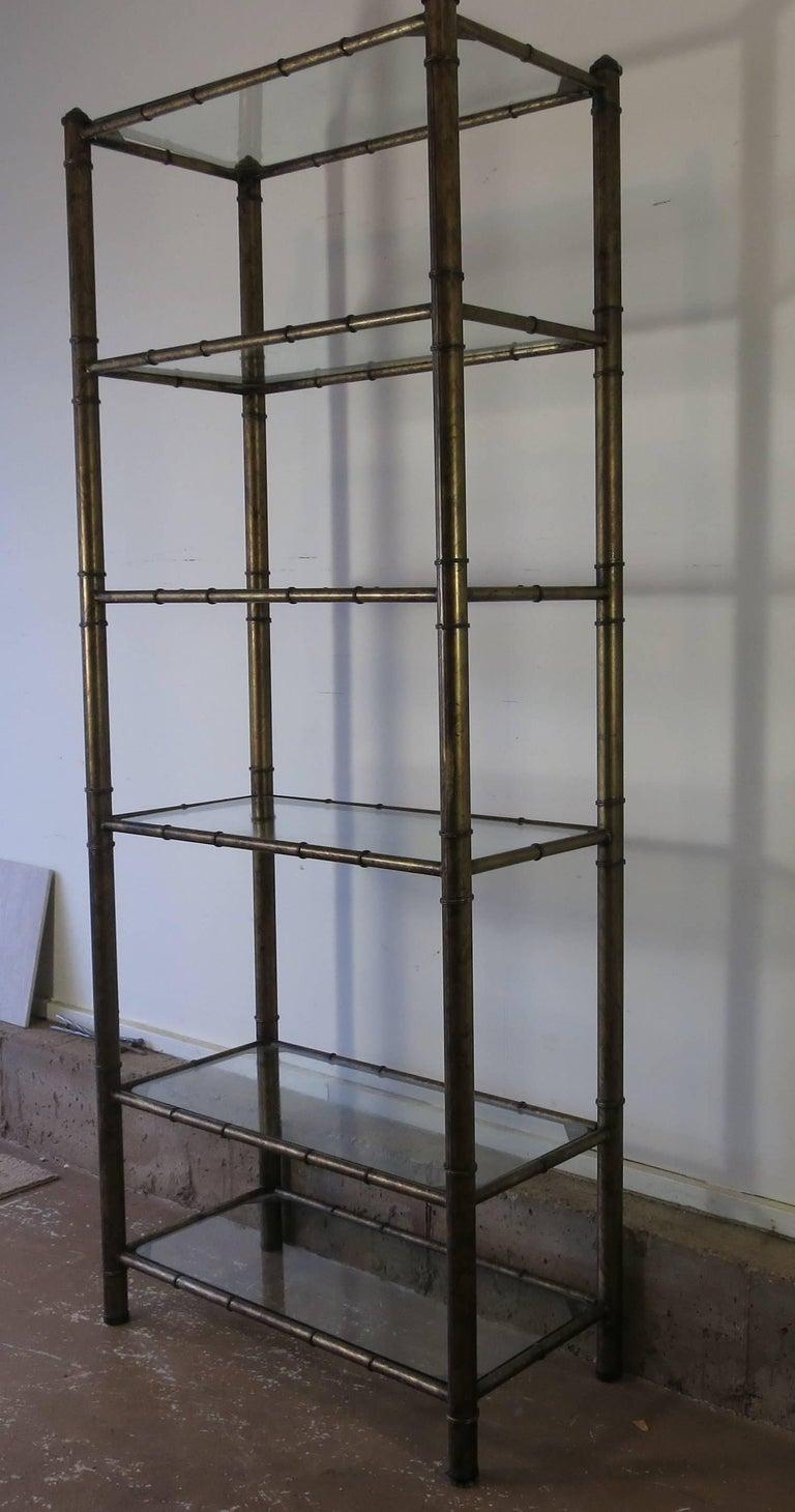 vintage faux bamboo metal etagere for sale at 1stdibs. Black Bedroom Furniture Sets. Home Design Ideas
