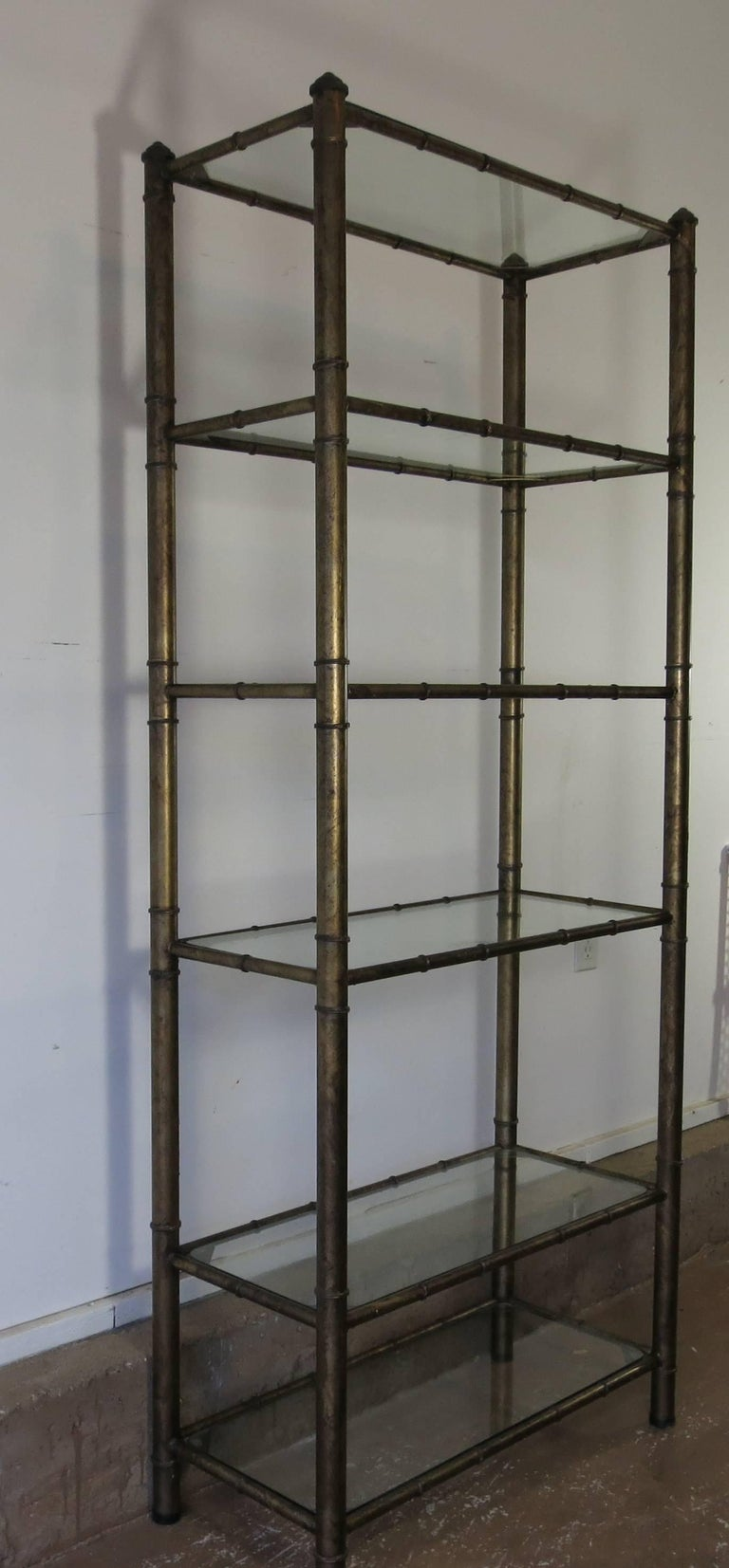 vintage faux bamboo metal etagere for sale at 1stdibs. Black Bedroom Furniture Sets. Home Design Ideas