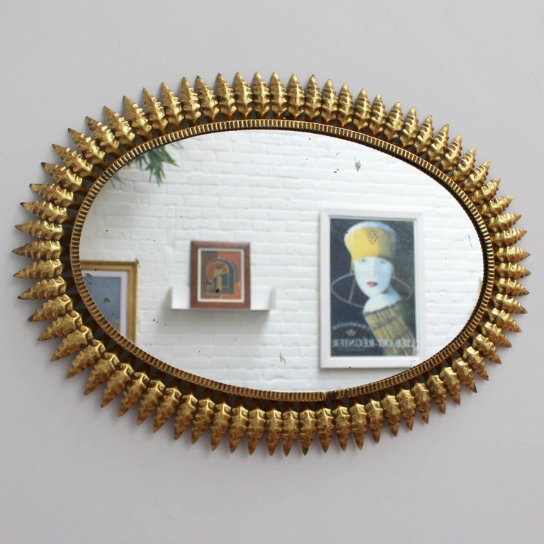 Mid-Century Modern Spanish Gilt Metal Sunburst Mirror, circa 1950s For Sale