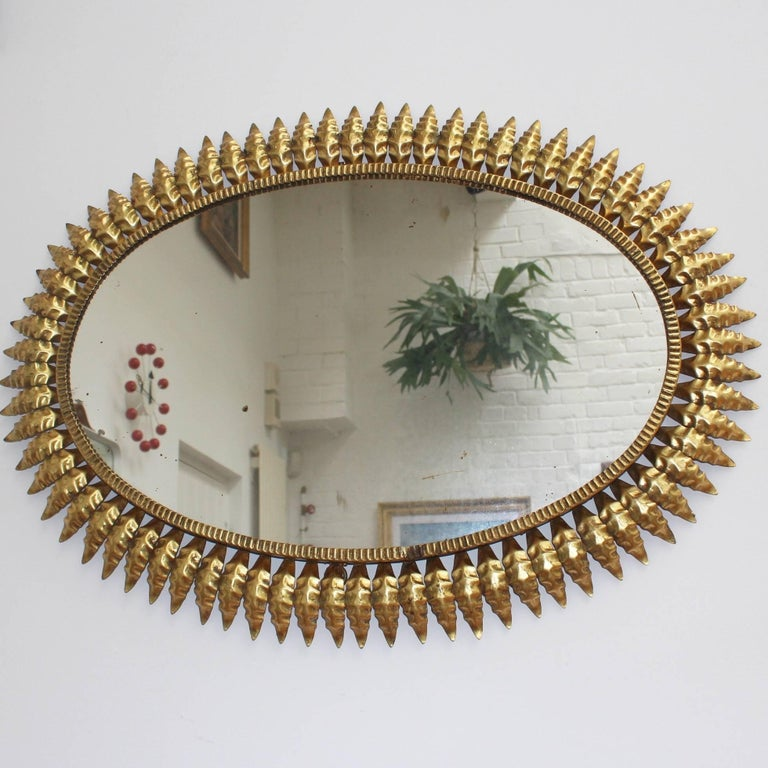 Spanish Gilt Metal Sunburst Mirror, circa 1950s In Good Condition For Sale In London, GB