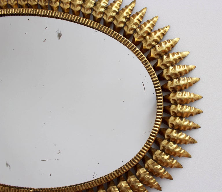 Spanish Gilt Metal Sunburst Mirror, circa 1950s For Sale 3