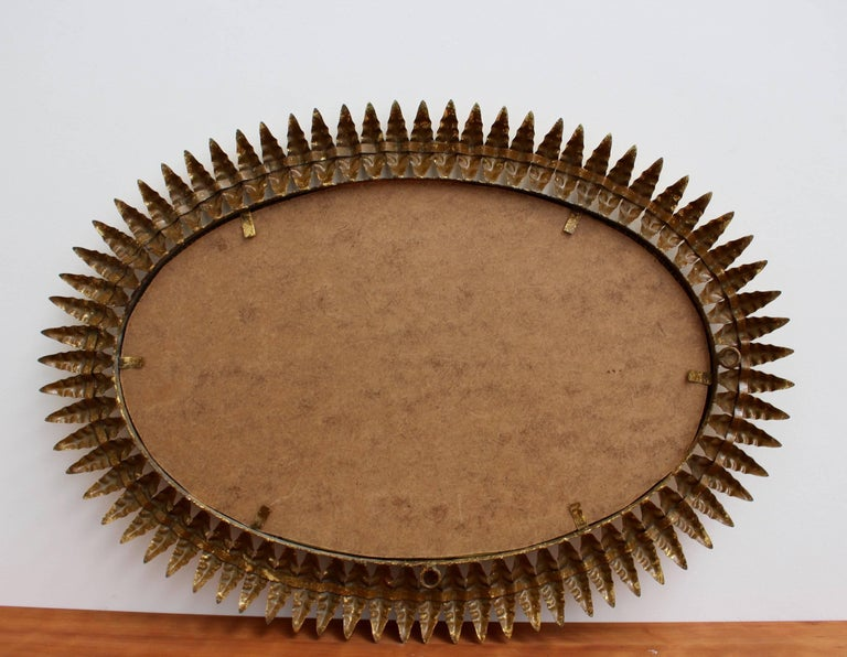 Spanish Gilt Metal Sunburst Mirror, circa 1950s For Sale 4