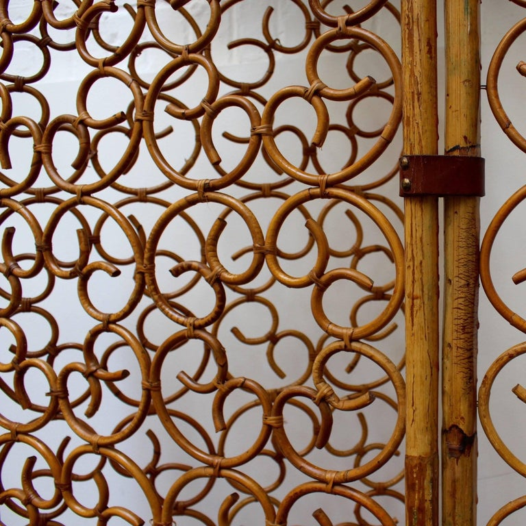 Bamboo French Rattan Room Divider, circa 1960s For Sale