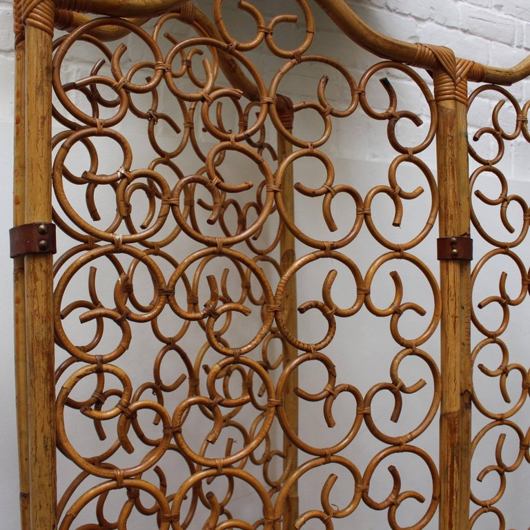 Mid-20th Century French Rattan Room Divider, circa 1960s For Sale
