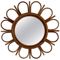 Midcentury French Bamboo and Rattan Sunflower Mirror, circa 1960s