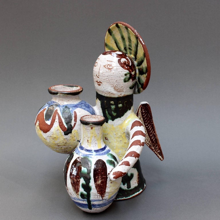 Mid-Century Modern Midcentury Ceramic Angel With Amphorae Sculpture, Vallauris, France, circa 1950s For Sale