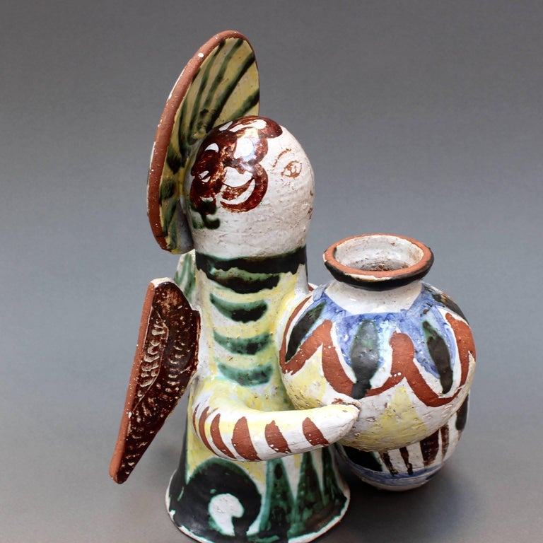 Mid-20th Century Midcentury Ceramic Angel With Amphorae Sculpture, Vallauris, France, circa 1950s For Sale