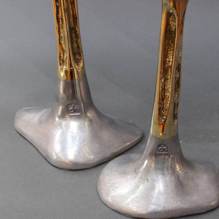 Pair of Brutalist Style Aluminium and Brass Candlesticks by David Marshall 1980s For Sale 1
