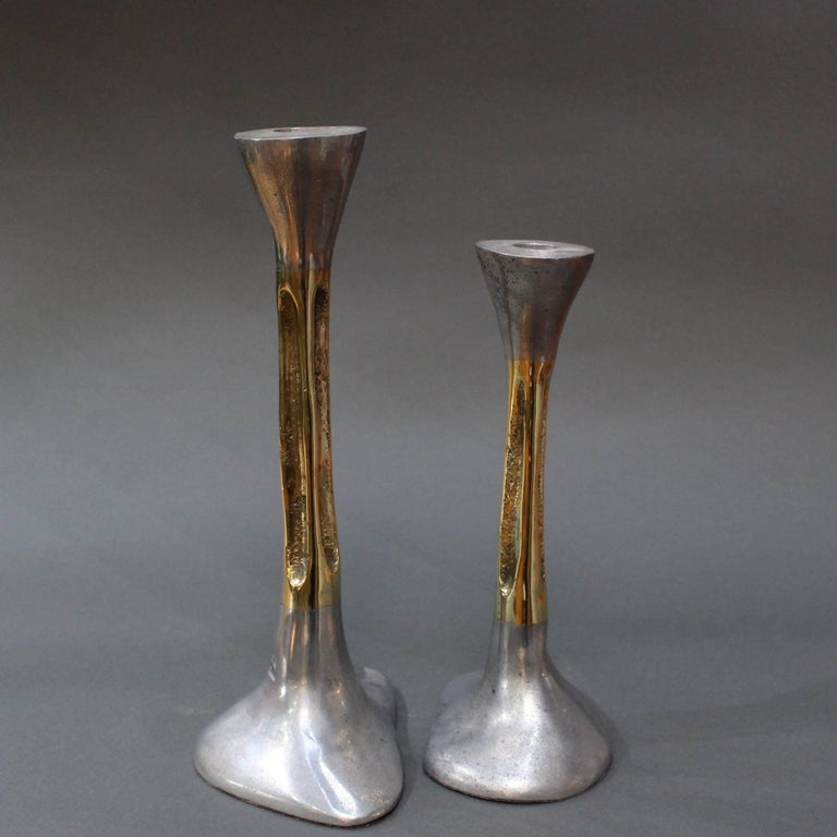 Late 20th Century Pair of Brutalist Style Aluminium and Brass Candlesticks by David Marshall 1980s For Sale