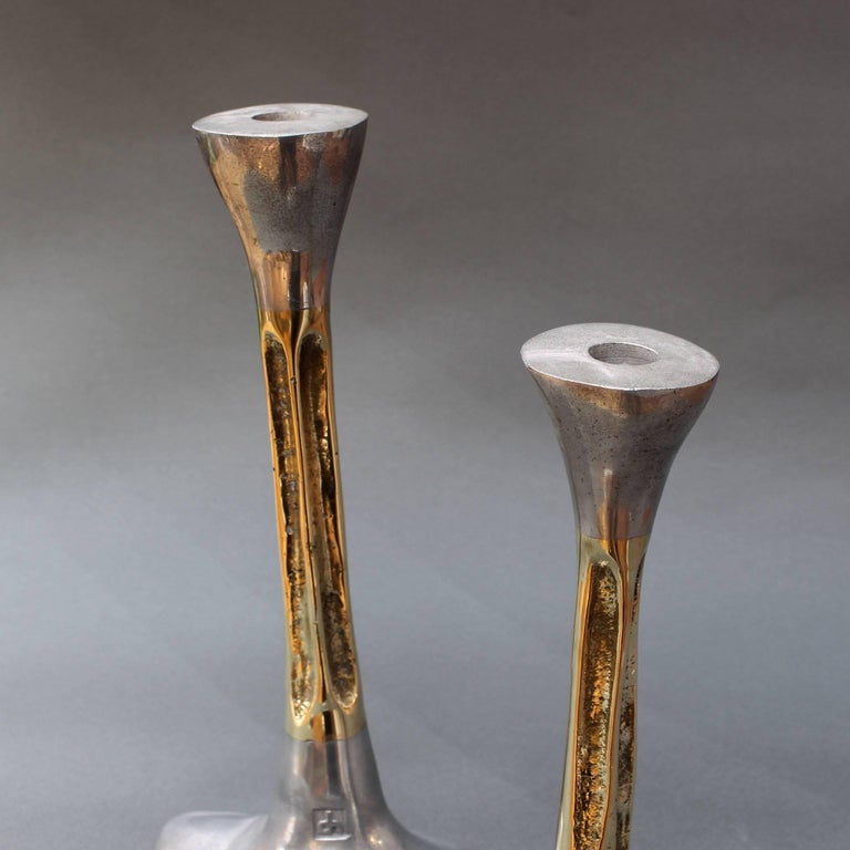 Pair of Brutalist Style Aluminium and Brass Candlesticks by David Marshall 1980s For Sale 2