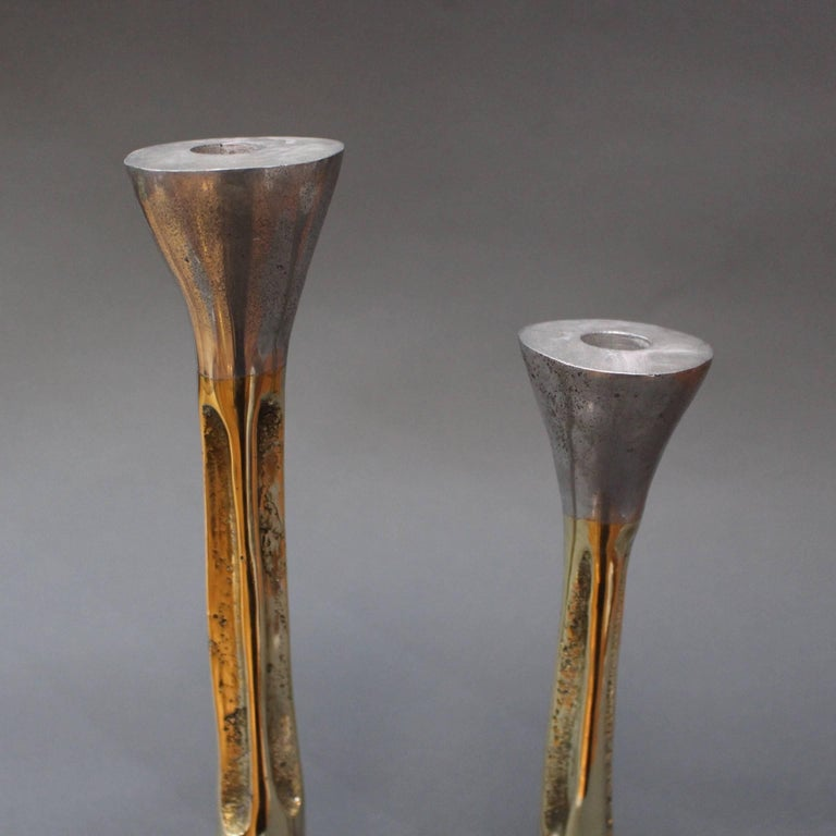 Aluminum Pair of Brutalist Style Aluminium and Brass Candlesticks by David Marshall 1980s For Sale