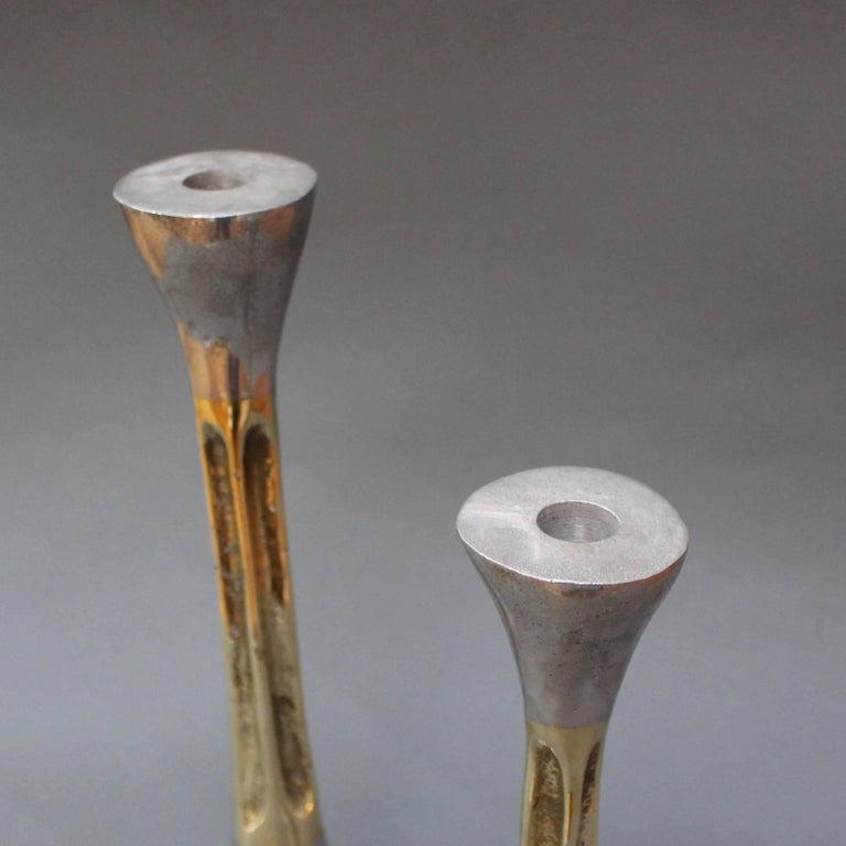 Pair of Brutalist Style Aluminium and Brass Candlesticks by David Marshall 1980s For Sale 3