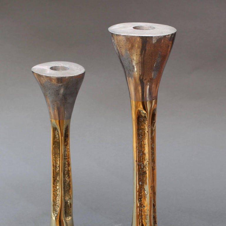 Pair of Brutalist Style Aluminium and Brass Candlesticks by David Marshall 1980s For Sale 4