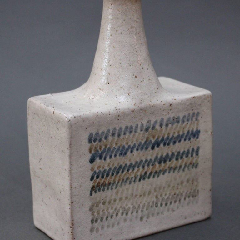 Ceramic Vase with Geometric Line Design by Bruno Gambone, circa 1970s For Sale 1