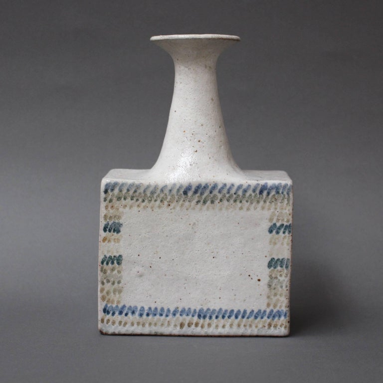 Minimalist Ceramic Vase with Geometric Line Design by Bruno Gambone, circa 1970s For Sale
