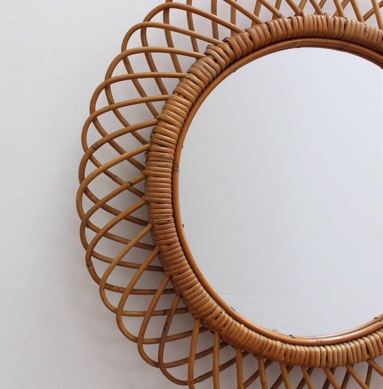 Mid-Century Modern Italian Sunburst Rattan Wall Mirror (circa 1960s) For Sale