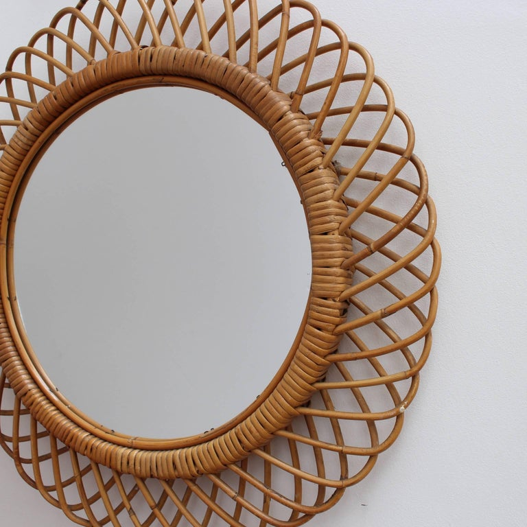 Mid-20th Century Italian Sunburst Rattan Wall Mirror (circa 1960s) For Sale