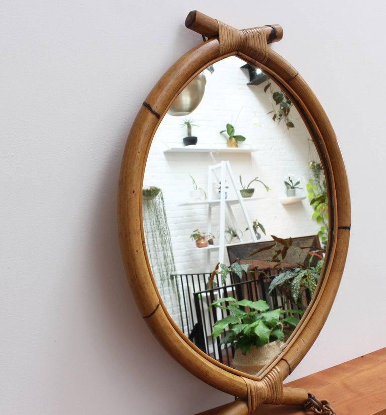 Italian 'Eye-Shaped' Style Bamboo and Rattan Mirror with Hanging Chain For Sale 1