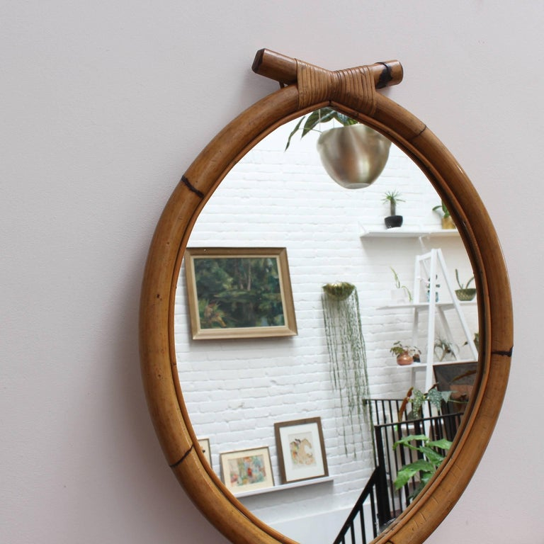 Mid-20th Century Italian 'Eye-Shaped' Style Bamboo and Rattan Mirror with Hanging Chain For Sale