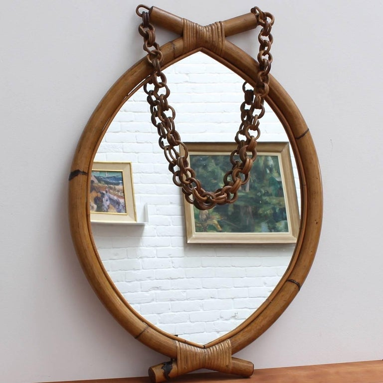 Italian 'Eye-Shaped' Style Bamboo and Rattan Mirror with Hanging Chain For Sale 3