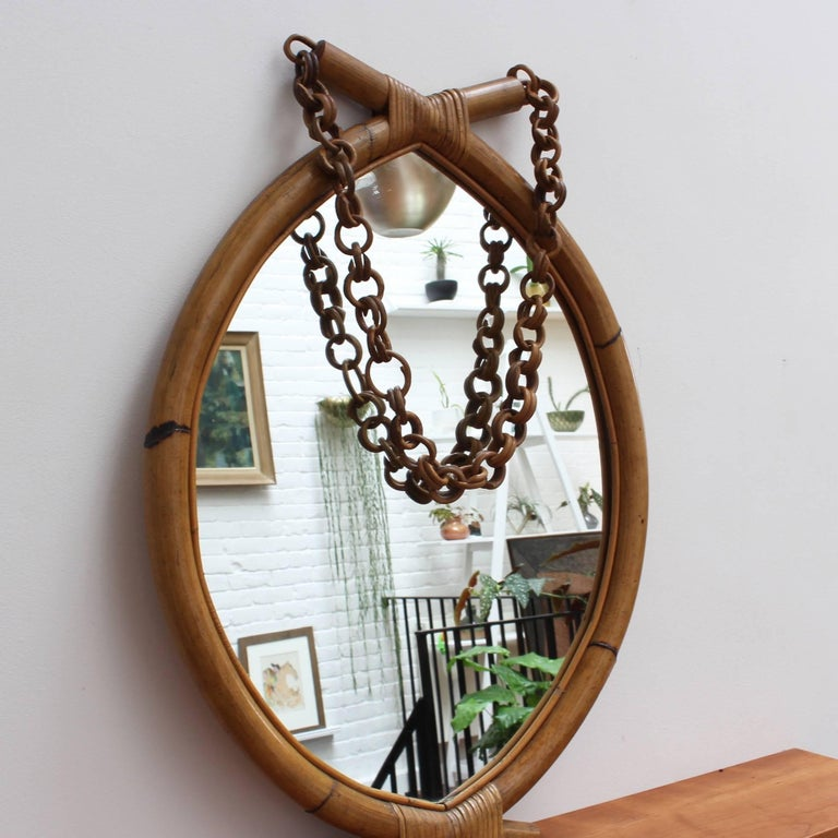 Italian 'Eye-Shaped' Style Bamboo and Rattan Mirror with Hanging Chain For Sale 2