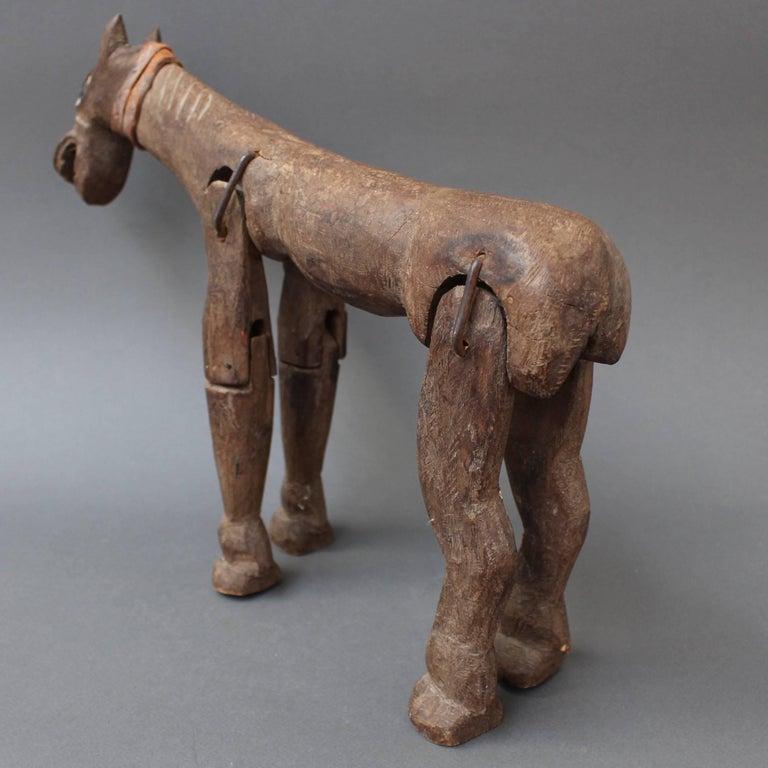 Folk Art Antique Carved Wooden Horse Marionette, 19th Century For Sale