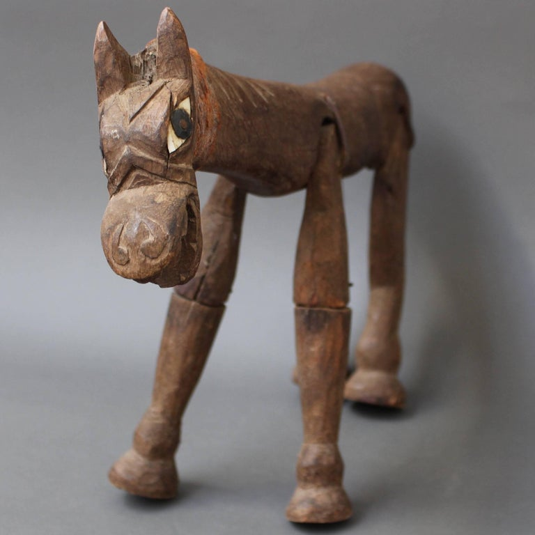 Antique Carved Wooden Horse Marionette, 19th Century For Sale 2