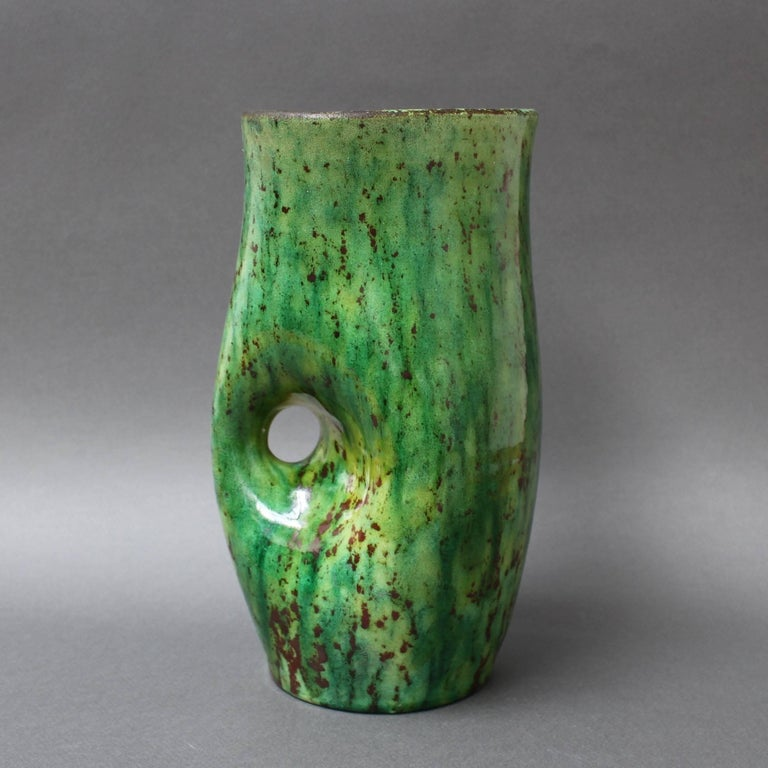 Ceramic Green Vase by Accolay, circa 1960s In Good Condition For Sale In London, GB