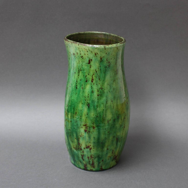 Ceramic Green Vase by Accolay, circa 1960s For Sale 1