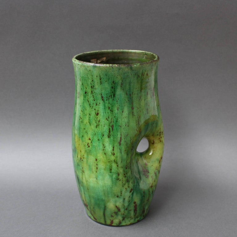 Mid-Century Modern Ceramic Green Vase by Accolay, circa 1960s For Sale