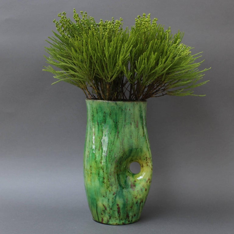 Ceramic Green Vase by Accolay, circa 1960s For Sale 6