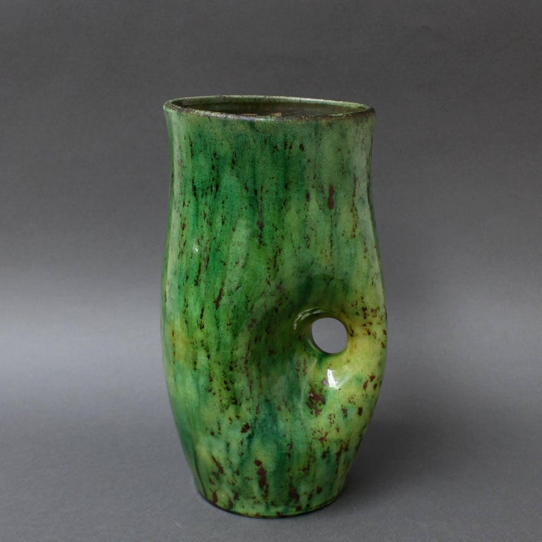French Ceramic Green Vase by Accolay, circa 1960s For Sale