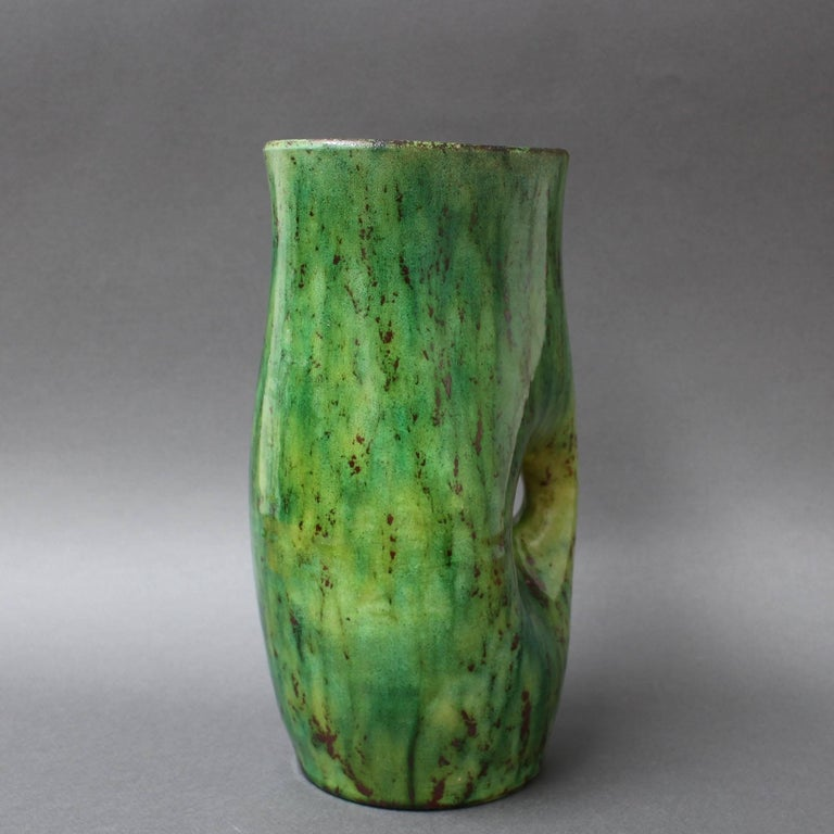 Mid-20th Century Ceramic Green Vase by Accolay, circa 1960s For Sale