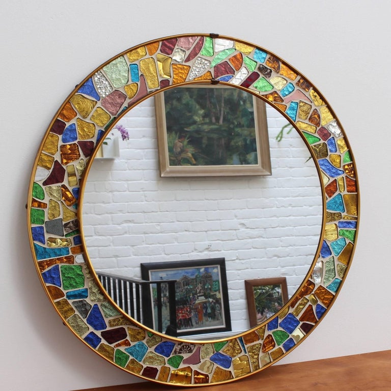 Brass Mid-century Spanish Mosaic Round Wall Mirror, circa 1960s For Sale