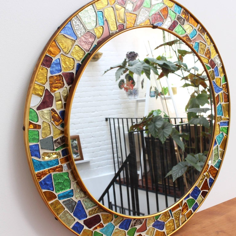 Mid-20th Century Mid-century Spanish Mosaic Round Wall Mirror, circa 1960s For Sale