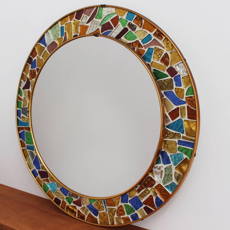 Mid-century Spanish Mosaic Round Wall Mirror, circa 1960s For Sale 1