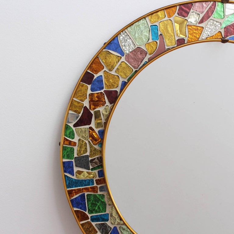 Mid-century Spanish Mosaic Round Wall Mirror, circa 1960s For Sale 3