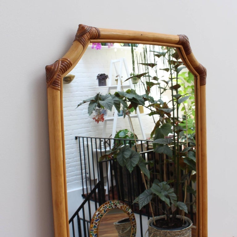 French Bamboo and Rattan Wall Mirror, circa 1960s In Good Condition For Sale In London, GB