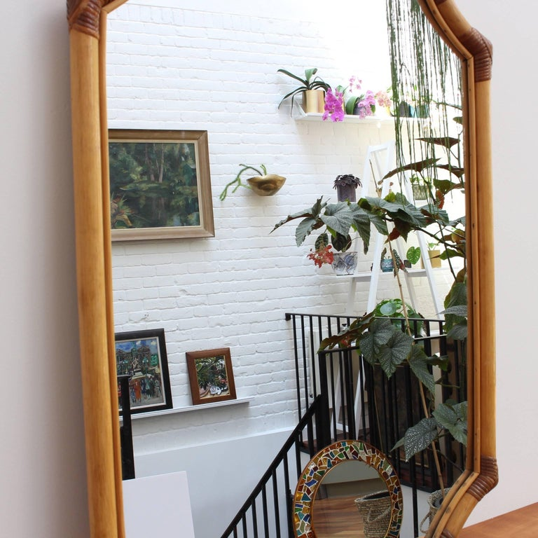 French Bamboo and Rattan Wall Mirror, circa 1960s For Sale 1