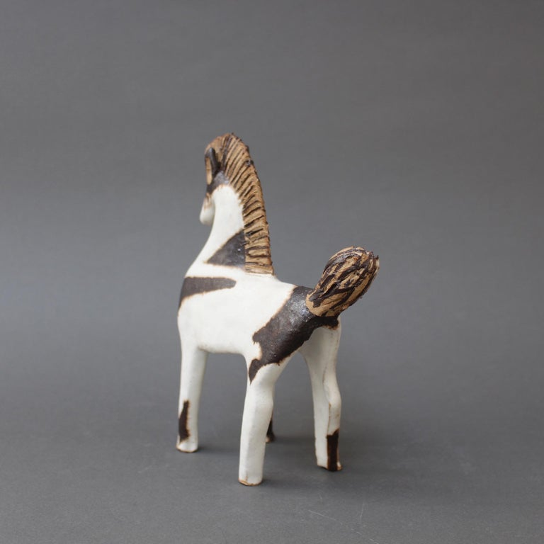 Minimalist Set of Two Ceramic Horses by Bruno Gambone, circa 1970s For Sale