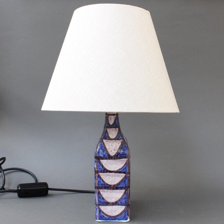 Vintage Mid Century Modern Ceramic Table Lamp Circa 1950s By Alessio Tasca