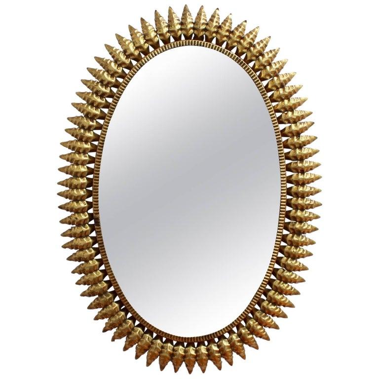 Mid-century Spanish Gilt Metal Sunburst Mirror, circa 1950s
